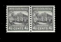 US 1938 SC# 809  4 1/2 c White House  Mint NH - Coil Pair-Crisp Color - Centered