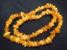 "Beautiful Rough Raw Natural Long Butterscotch Amber Stone Strand Necklace 28"""