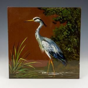 Antique Minton Hollins & Co. - Heron Painted - Large Aesthetic Movement Tile