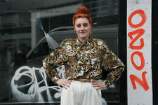 Damen Bluse Erdtöne mit Schulterpolstern 90er True VINTAGE women blouse 90s