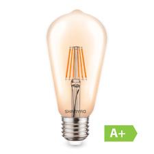 LAMPADA LED EDISON VINTAGE PERA FILAMENTO LAMPADINA LUCE CALDA 8W VETRO E27 A+