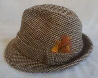 """Vintage Men's Fedora Wool Tweed Brown Size 6 7/8"""""""