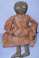 real antique primitive black rag doll