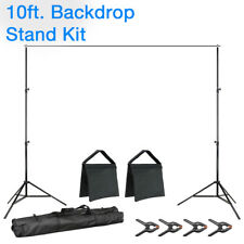 10 Ft. Photography Studio Background Support Stand Kit Carry Bag Clamps Sandbags