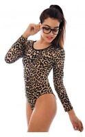 Womens Ladies LEOPARD Print Bodysuit Leopard Long Sleeve Stretch Leotard Top