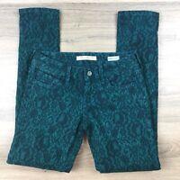 Mavi Women's Jeans Serena Low Rise Skinny Green Black Damask Size 24 hem (BN12)