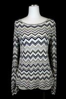 womens gray blue shimmer chevron WHITE HOUSE BLACK MARKET pullover sweater M