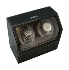Heiden Battery Powered Operated Dual Double Power Watch Winder Black Leather