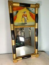 "Antique Federal split column reverse painted mirror boy hoop black gold 13 x 26"""