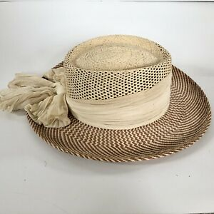 Women/'s Vintage Scala Hat Firenze Italy Italian Wide Brim Natural Straw Sun Hat Black Grosgrain Ribbon Trim Band Size 22.25 Medium 7 18