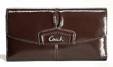 Coach Ashley Patent Leather & Gold Envelope Wallet 48251, Mahogany