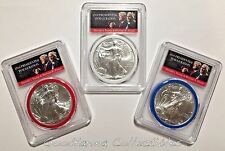 2017 Silver Eagle 3-Coin Set PCGS MS70 FS Red~White~Blue Trump Pence ONLY 5K