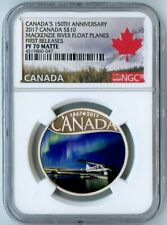 2017 CANADA NGC 1ST RELEASES PF70 MATTE SILVER MACKENZIE RIVER FLOAT PLANES S$10