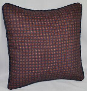 """Corded Accent Pillow made w Ralph Lauren Millbrook Navy Blue Foulard Fabric 12"""""""