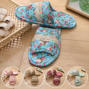 1Pair Unisex Women Home Slippers Indoor Floral Printed Non-slip Floor Shoes