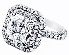 GIA Certified Platinum Asscher Cut Diamond Engagement Ring 5 carat total Halo...