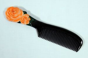 Hand Painted Orange Rose Flower Comb B29F