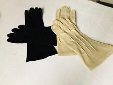 Vintage Leather Gloves Size 6.5: Lot Of 2 Black & Beige