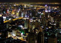 BANGKOK CITY NIGHT PANORAMA NEW A3 CANVAS GICLEE ART PRINT POSTER