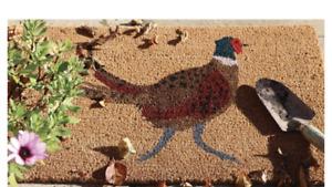 Luxury Natural Fibre Coir Out Door Mat Pheasant Design Rubber Back  45 x 75 cm