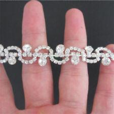 10cm Sparkling Diamante Trim Crystal Rhinestone Wedding Beaded Diamond Applique