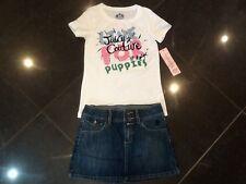 NWT Juicy Couture & Genuino Falda Denim & Camiseta Algodón Set Niña 8 años