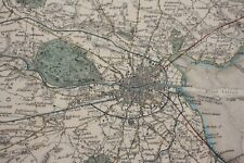 1837 Baldwin and Cradock antique 'Environs of Dublin' coloured steel plate map.