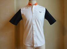 FRED PERRY BY RAF SIMONS MULTICOLOR BLOCKING PANEL SHIRT S M ORANGE WHITE BLACK