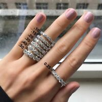 Round Wedding Engagement Eternity CZ Stones Studded 14K White Gold Silver Ring