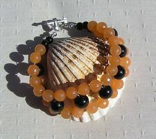 "Orange Agate & Black Onyx Crystal Gemstone Cuff Bracelet ""Montalivet"""