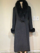 Marvin Richards Women's Winter blue fox fur Cashmere Wool long coat size 12 M