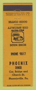 Matchbook Cover - Phoenix Diner Phoenixville PA ADVANCE