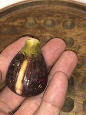 Early Antique Italian Alabaster Stone Fruit Marble Dark Miniature Fig NM+ Rare