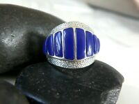 Southwestern Lapis Sterling Silver 925 Wide Panel Band Mens Womens Ring Size 7