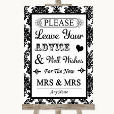 Black & White Damask Guestbook Advice & Wishes Lesbian Personalised Wedding Sign
