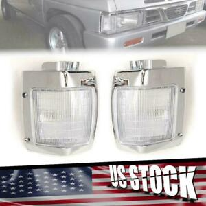Clear Chrome Corner Lamp Light Left+Right Side For 1986-1996 Nissan D21 Pickup