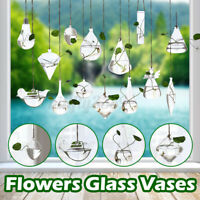 Creative Hanging Glass Flower Planter Vase Terrarium Container Home Garden  AU