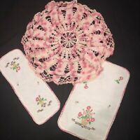 "Lot of 3 Vintage Embroidered Linen Doilies set 2 and Pink Crocheted 18""R  Doily"