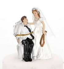 Groom atado a silla cómico Cake Topper-Novia & Novio Wedding Cake Topper