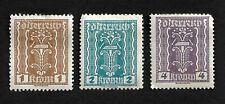 Lot of 3 Austria Oiterreicht 1, 2,4 Krone Stamps Hinged Symbols Labor & Industry
