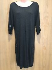 M&S Ladies Charcoal Grey Jumper Dress Size 10 Short Sleeved Baggy Wool Blend