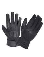 Men Leather Motorcycle Glove, Mesh Back Vented, Leather Palm Biker Gloves