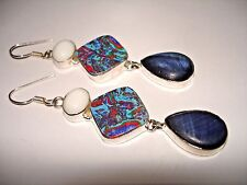AB Rainbow Calsilica Blue Goldstone White Jade Silver One-Of-A-Kind Earrings 3""