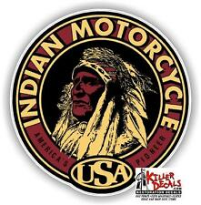 "(IND-3) 4"" ROUND INDIAN MOTORCYCLE WAR BONNET STICKER DECAL"