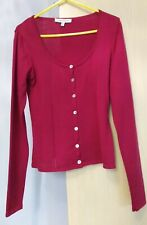 Laura Ashley 100% Wool Short Cardigan Berry Red Size 8 Ladies Womens