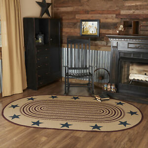 VHC Potomac Stencil Star Americana Natural Country Oval Braided Rug W/Pad