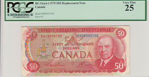 1975 Bank of Canada $50 Replacement Note - PCGS Very Fine 25