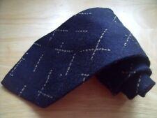 KR821 Calvin Klein Krawatte Wollmischung Dunkelblau Creme Braun  148cm Neuwertig