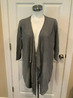 Eileen Fisher Gray Ribbed Asymmetric Open Front Cardigan Sweater, Size Small