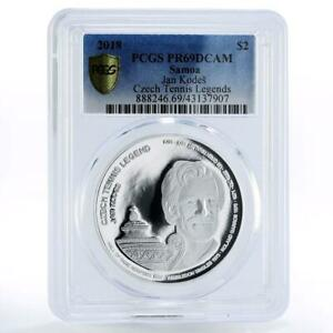 Samoa 2 dollars Czech Tennis Legends Jan Kodes PR69 PCGS silver coin 2018